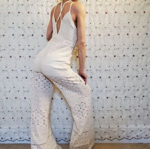 Free People Moon Bay Cream Crochet Jumpsuit